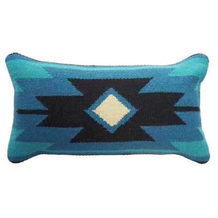 "Rizzy Home Aztec Print Kilim Decor Pillow - 11x21"" in Blue/Black - Closeouts"