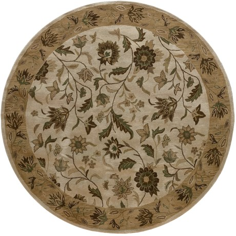 Rizzy Home Bentley Area Rug - 8' Round in Linen/Ivory