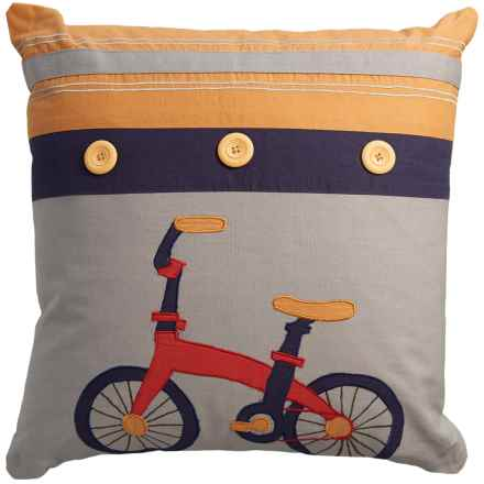 "Rizzy Home Bicycle Decor Pillow - 18x18"" in Multi - Closeouts"