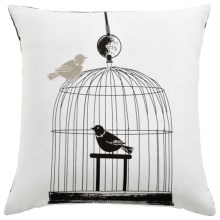 "Rizzy Home Bird Collection Decor Pillow - 18x18"" in Cage - Closeouts"