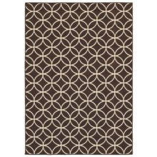 "Rizzy Home Boardwalk Indoor/Outdoor Area Rug - 4'11""x7'2"" in Brown Circle Geo - Overstock"