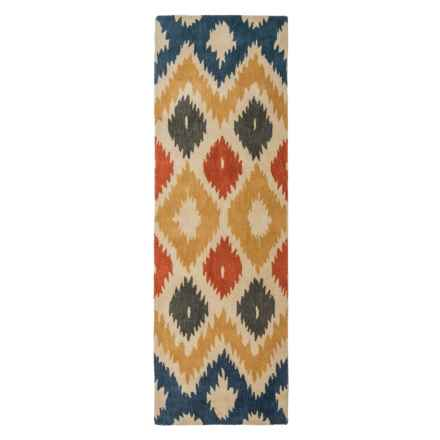 "Rizzy Home Bradberry Downs Floor Runner - 2'6""x8', Hand-Tufted Wool in Blue/Yellow Ikat - Closeouts"