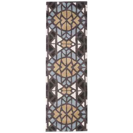 "Rizzy Home Bradberry Downs Floor Runner - 2'6""x8', Hand-Tufted Wool in Grey Stained Glass - Closeouts"