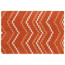 Rizzy Home Chevron Flat-Weave Wool Accent Rug - 2x3' in Orange/Beige Square - Closeouts