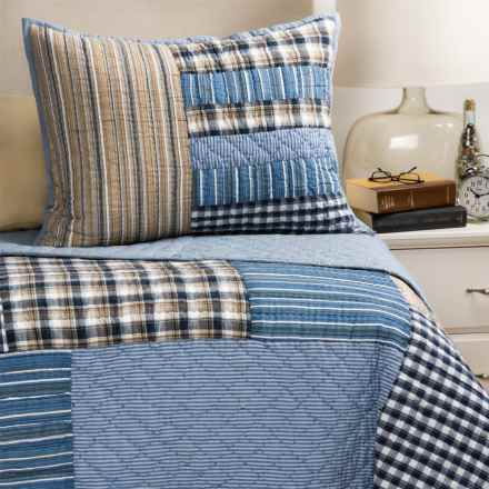 Rizzy Home Denim Patchwork Plaid Quilt Set - Twin in Blue - Closeouts