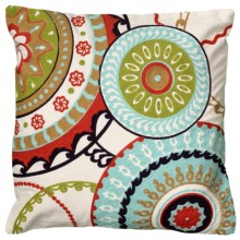"""Rizzy Home Embroidered Decor Pillow - 18x18"""" in Circles - Closeouts"""