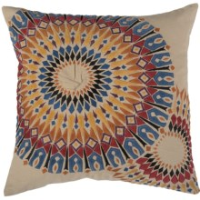 "Rizzy Home Embroidered Sunburst Decor Pillow - 20x20"" in Beige/Multi - Closeouts"