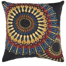 "Rizzy Home Embroidered Sunburst Decor Pillow - 20x20"" in Black/Multi - Closeouts"