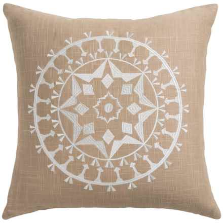 """Rizzy Home Embroidered Throw Pillow - 18x18"""" in Flax - Closeouts"""