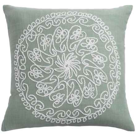 "Rizzy Home Embroidered Throw Pillow - 18x18"" in Sage Grey - Closeouts"