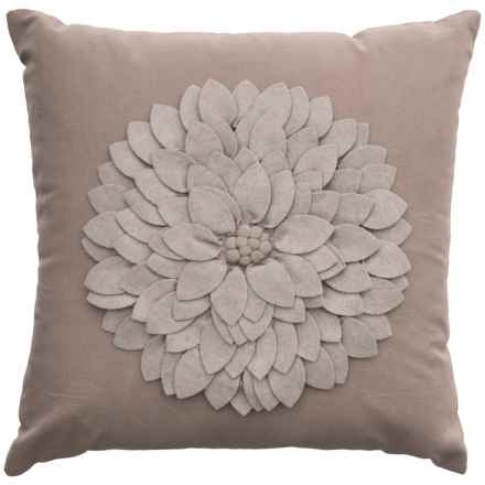 "Rizzy Home Fabric Flower Throw Pillow - 18x18"" in Grey - Closeouts"