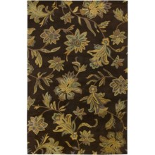 Rizzy Home Floral Area Rug - 9x12', New Zealand Wool in Dark Brown - Closeouts
