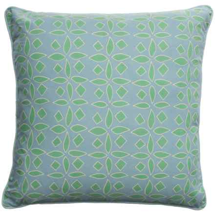 """Rizzy Home Floral Cutout Throw Pillow - 22x22"""" in Lt Blue/Green - Closeouts"""