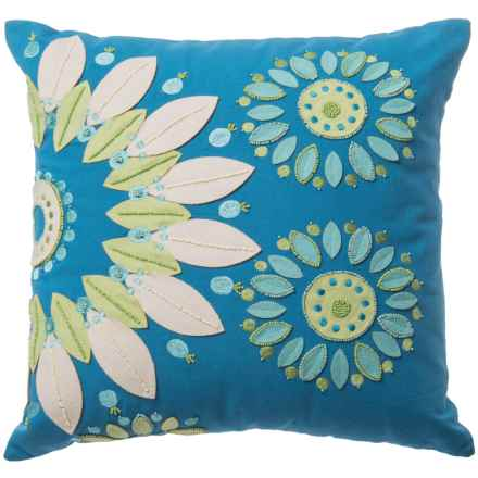 "Rizzy Home Floral Patched Stitched Decor Pillow - 18x18"" in Blue/Green - Closeouts"