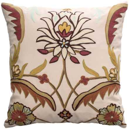 """Rizzy Home Floral Stitching Throw Pillow - 20x20"""" in Ivory / Multi - Closeouts"""