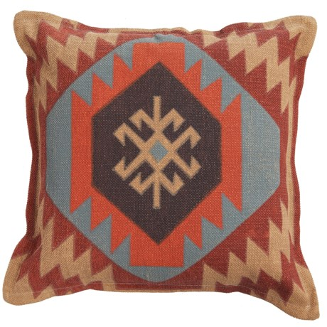 """Rizzy Home Geometric Decor Pillow - 26x26"""" in Red/Grey Multi"""