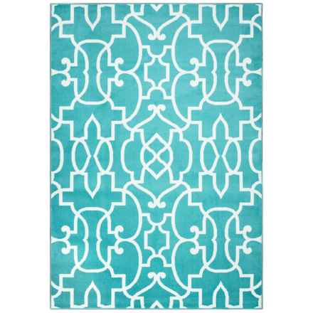 "Rizzy Home Glendale Indoor/Outdoor Accent Rug - 3'3""x5'3"" in Aqua/Blue Trellis - Closeouts"