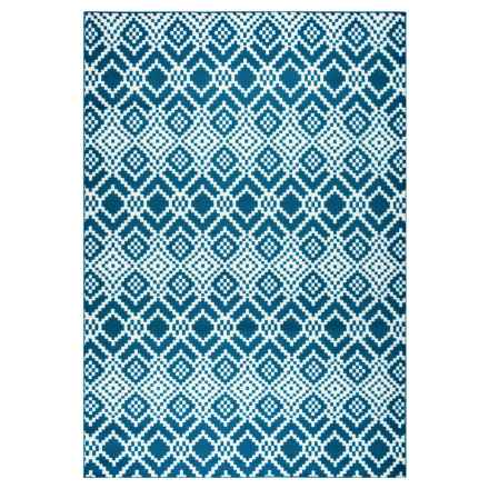 "Rizzy Home Glendale Indoor/Outdoor Area Rug - 5'3""x7'7"" in Navy Pattern - Closeouts"