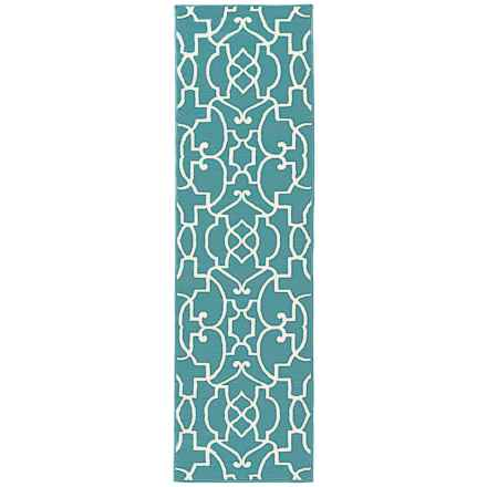 "Rizzy Home Glendale Indoor/Outdoor Floor Runner - 2'3""x7'7"" in Aqua/Blue Trellis - Closeouts"