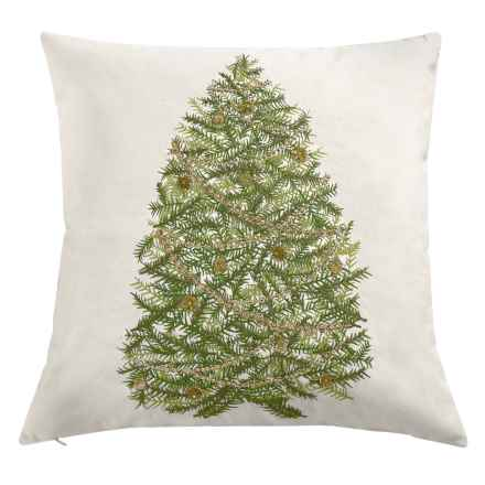 "Rizzy Home Green Tree Decor Pillow - 20x20"" in Ivory/Green - Closeouts"