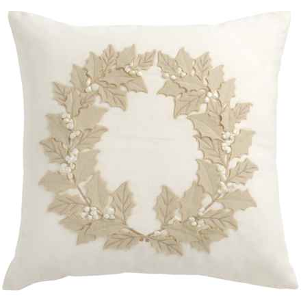 "Rizzy Home Holiday Poinsettia Leaves Pillow - 20x20"" in Ivory/Beige - Closeouts"