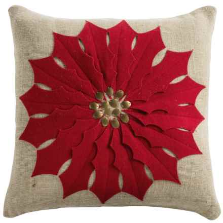 "Rizzy Home Holiday Red Poinsettia Decor Pillow - 18x18"" in Beige/Red - Closeouts"