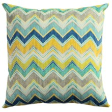 "Rizzy Home Indoor-Outdoor Chevron Decor Pillow - 22x22"" in Blue/Yellow - Closeouts"