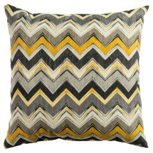 "Rizzy Home Indoor-Outdoor Chevron Decor Pillow - 22x22"" in Brown/Yellow - Closeouts"