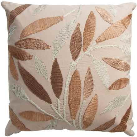"Rizzy Home Leaf Decor Pillow -20x20"" in Ivory/Tan - Closeouts"