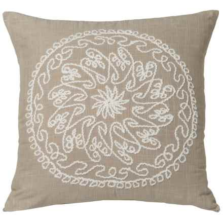 "Rizzy Home Medallion Stitched Throw Pillow - 18"" in Khaki - Closeouts"