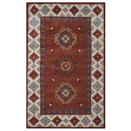 Rizzy Home Native Accent Rug - Hand-Tufted Wool, 2x3' in Rust/Gray Medallion Border - Closeouts