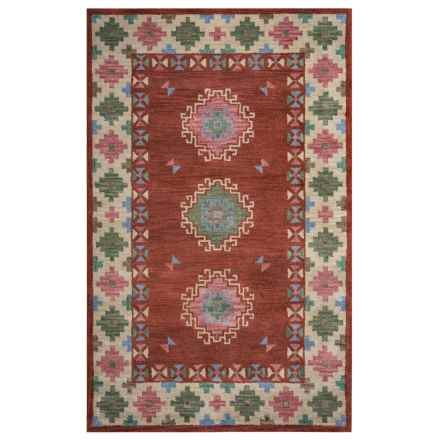 Rizzy Home Native Accent Rug - Hand-Tufted Wool, 2x3' in Rust/Green Medallion Border - Closeouts
