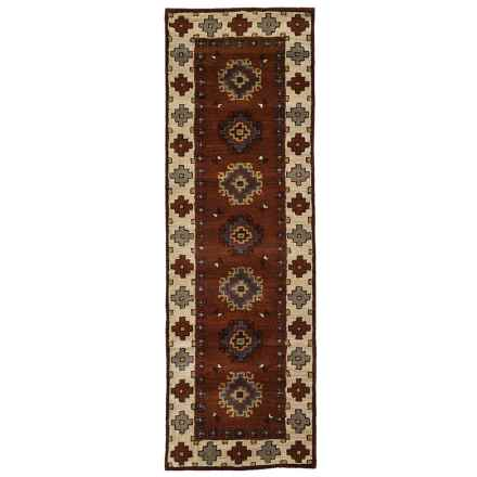 "Rizzy Home Native Floor Runner - Hand-Tufted Wool, 2'6""x8' in Rust/Gray Medallion Border - Closeouts"