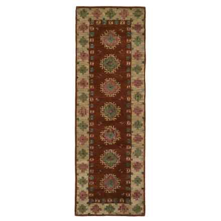 "Rizzy Home Native Floor Runner - Hand-Tufted Wool, 2'6""x8' in Rust/Green Medallion Border - Closeouts"