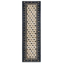 """Rizzy Home Native Floor Runner - Wool, 2'6""""x6' in Navy/Beige Border - Closeouts"""
