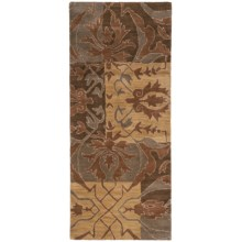 """Rizzy Home Native Floor Runner - Wool, 2'6""""x6' in Tan/ Blue - Closeouts"""