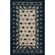"Rizzy Home Native Hand-Tufted Wool Accent Rug - 3'6""x5'6"" in Navy/Beige Border - Overstock"