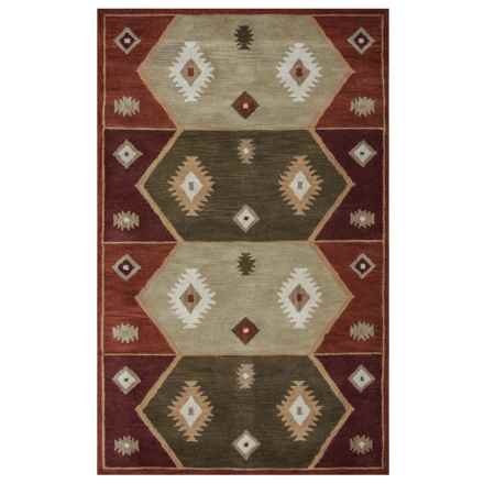 "Rizzy Home Native Hand-Tufted Wool Accent Rug - 3'6""x5'6"" in Hopi Red - Closeouts"