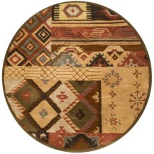 Rizzy Home Native Hand-Tufted Wool Area Rug - 6' Round in Brown Patchwork - Overstock