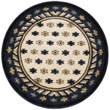 Rizzy Home Native Hand-Tufted Wool Area Rug - 6' Round in Navy/Beige Border - Overstock