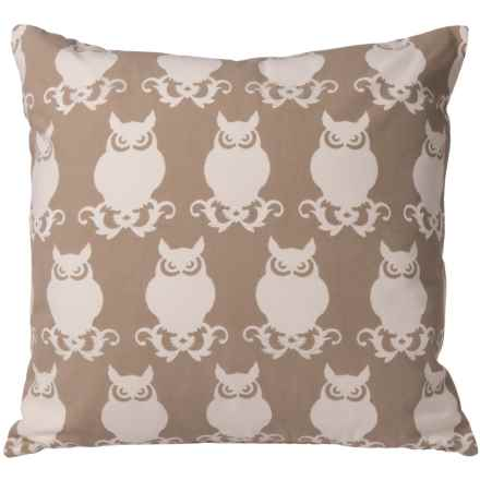 "Rizzy Home Owl Throw Pillow - 20"" in Beige - Closeouts"