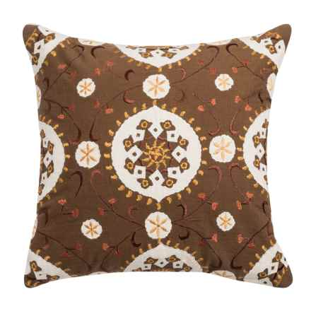 "Rizzy Home Patterned Embroidery Pillow - 18x18"" in Brown - Closeouts"