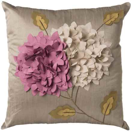 "Rizzy Home Raised Floral Throw Pillow - 18"" in Grey - Closeouts"