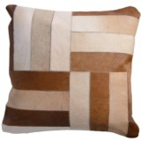 "Rizzy Home Rectangle Patch Fur Decor Pillow - 18x18"", Leather"
