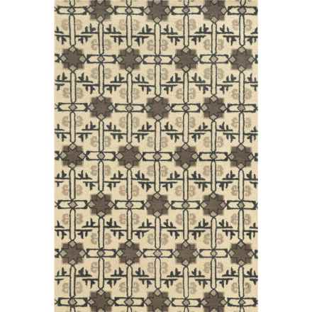 Rizzy Home Rockport Accent Rug - Hand-Tufted Wool, 2x3' in Ivory Diamond - Closeouts