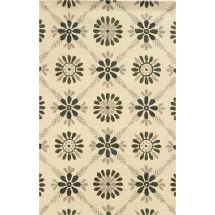 Rizzy Home Rockport Accent Rug - Hand-Tufted Wool, 2x3' in Ivory Floral - Closeouts