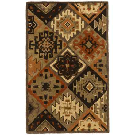 Rizzy Home South-West Collection Green Accent Rug - 3x5', Wool in Brown - Closeouts