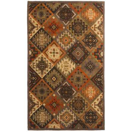 Rizzy Home South-West Collection Green Area Rug - 5x8', Wool in Brown - Closeouts