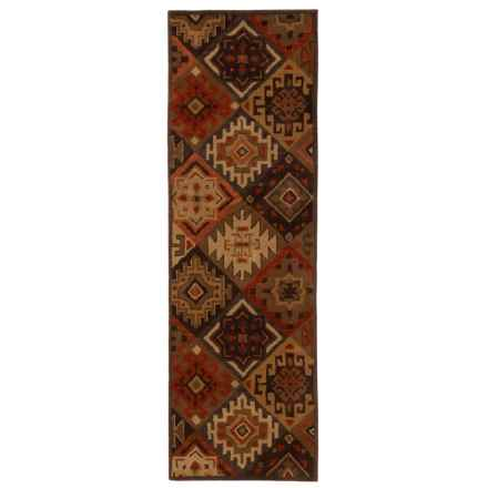 """Rizzy Home South-West Collection Green Floor Runner - 2'6""""x8', Wool in Brown - Closeouts"""