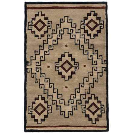 Rizzy Home South-West Collection Grey and Blue Accent Rug - 3x5', Wool in Light Brown - Closeouts